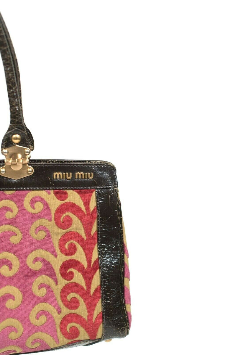 Miu Miu Womens Brown Tan Red Shoulder Bag Twiggy Brocade Handbag Retail $1600