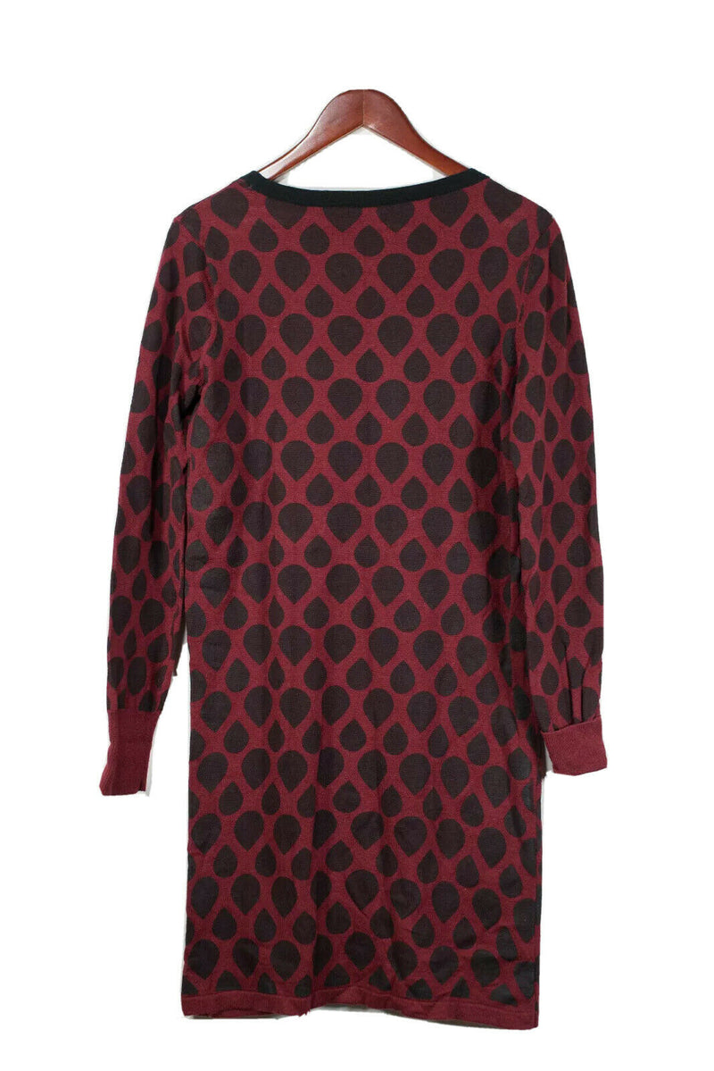 St. Martins Medium Red Scandinavian Pattern Knit Dress