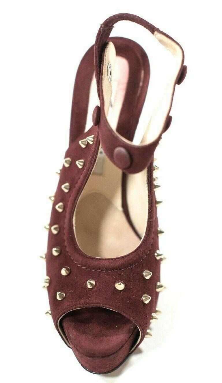 Brian Atwood Womens Size 37 6.5 Burgundy Red Slingback Heel Suede Spiked Pumps