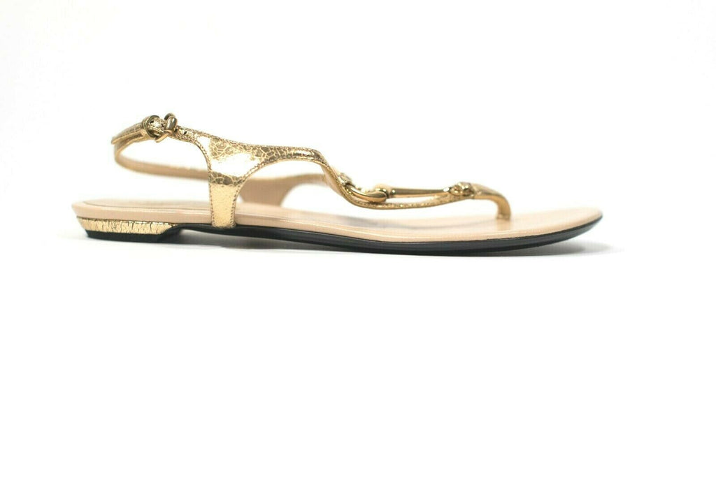 Gucci Womens Size 36.5 Gold Thong Sandals Metallic Leather Horsebit Shoes $650