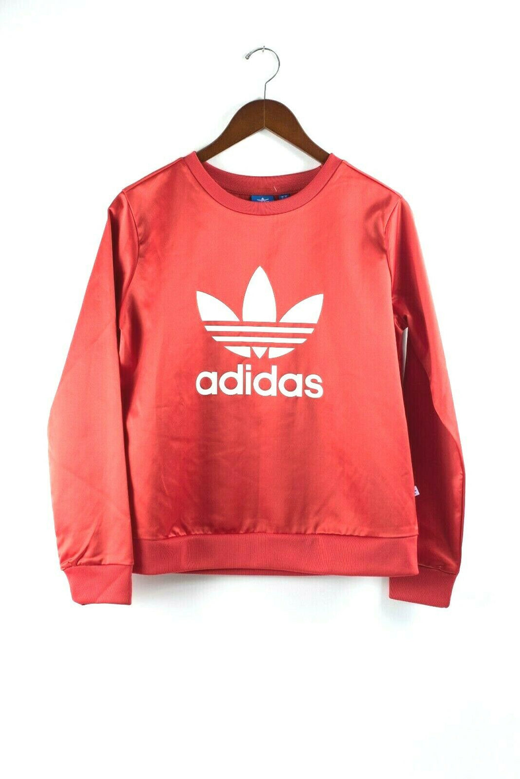 Adidas Original Womens Size Small Red Sweater Crew Sweat Trefoil Logo Sateen NWT