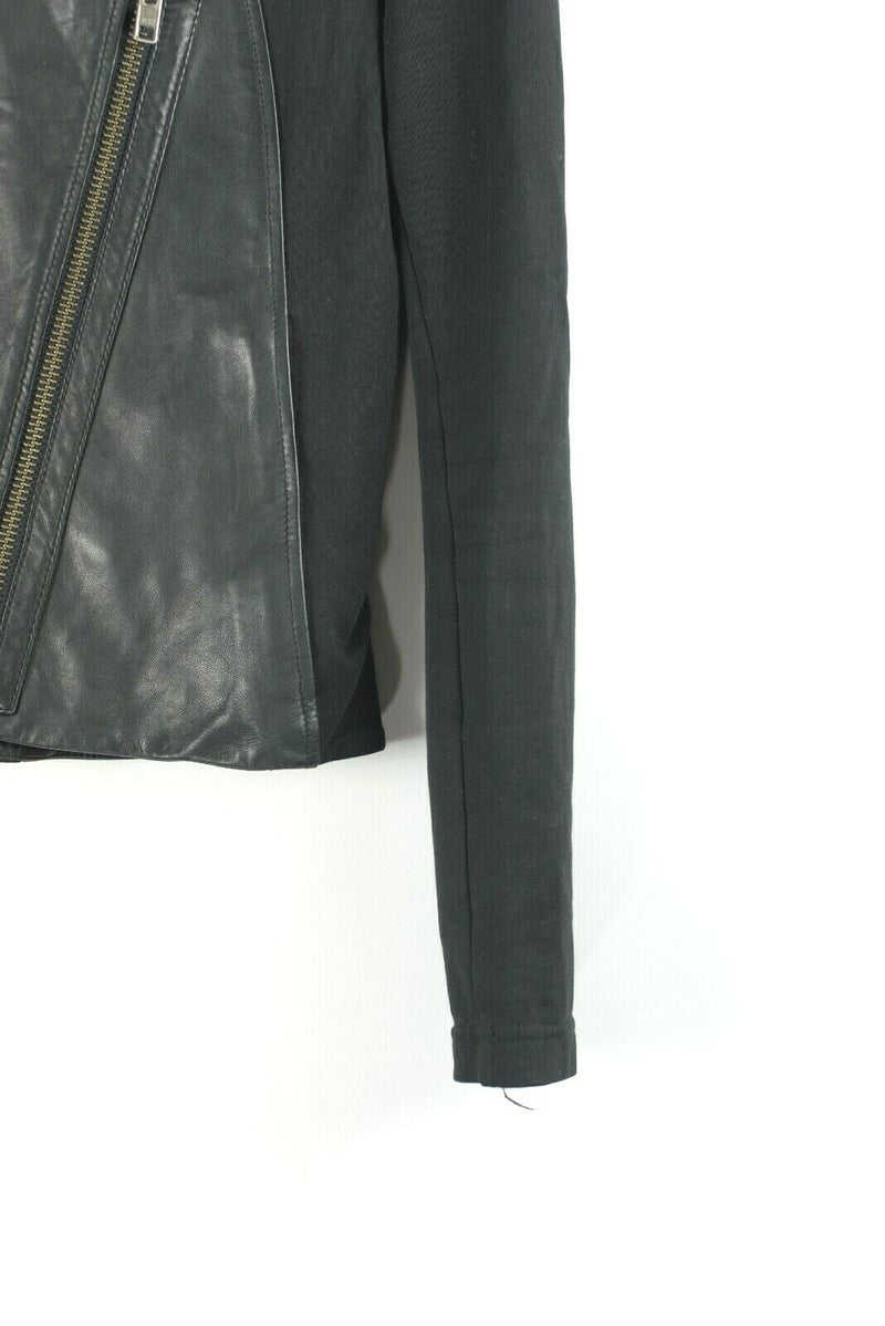 HELMUT Helmut Lang Womens Small Black Jacket Cropped Moto Jacket Washed Leather