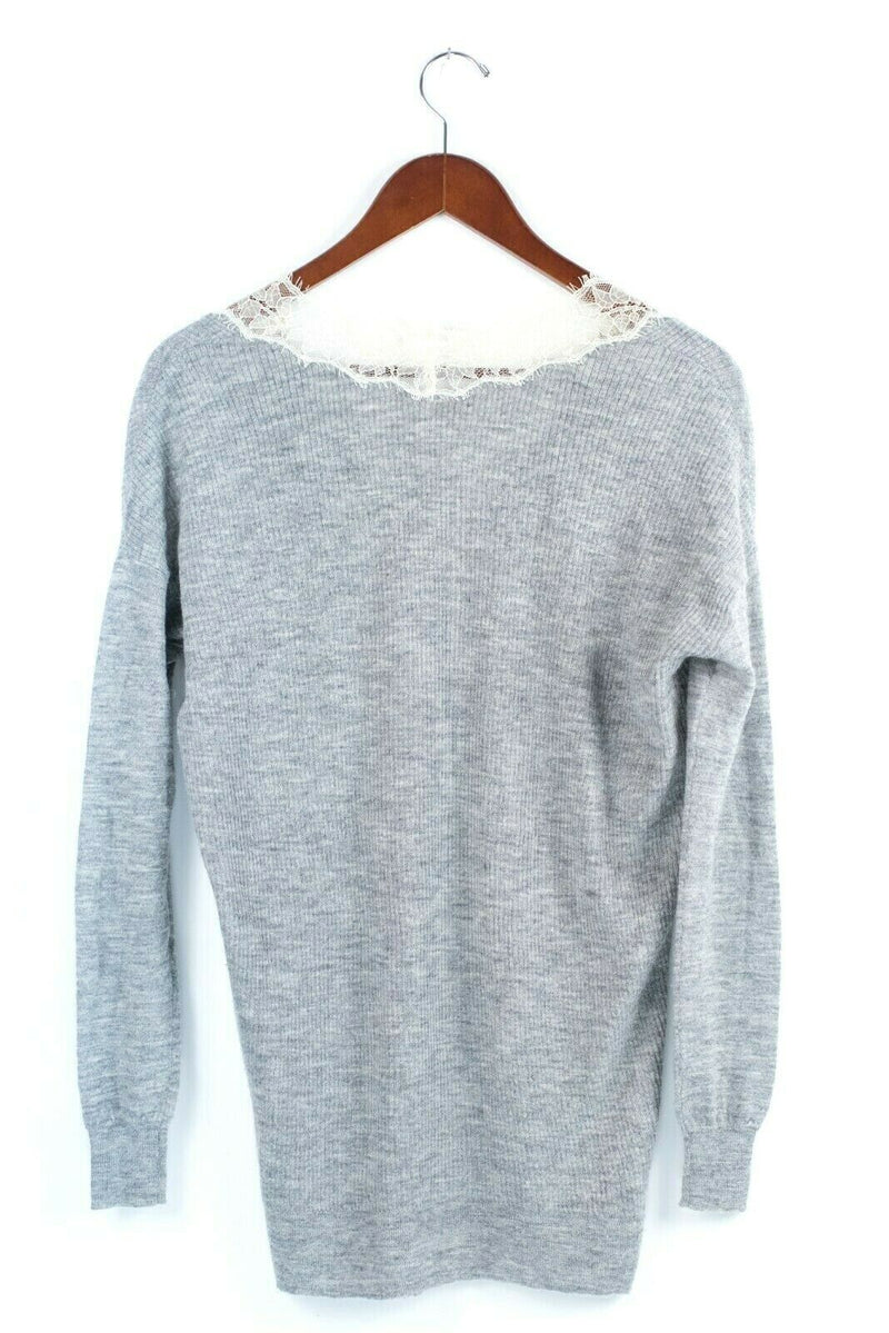 Rebecca Taylor Womens Size XS Grey Ivory Sweater Silk Lace Ribbed Knit Pullover