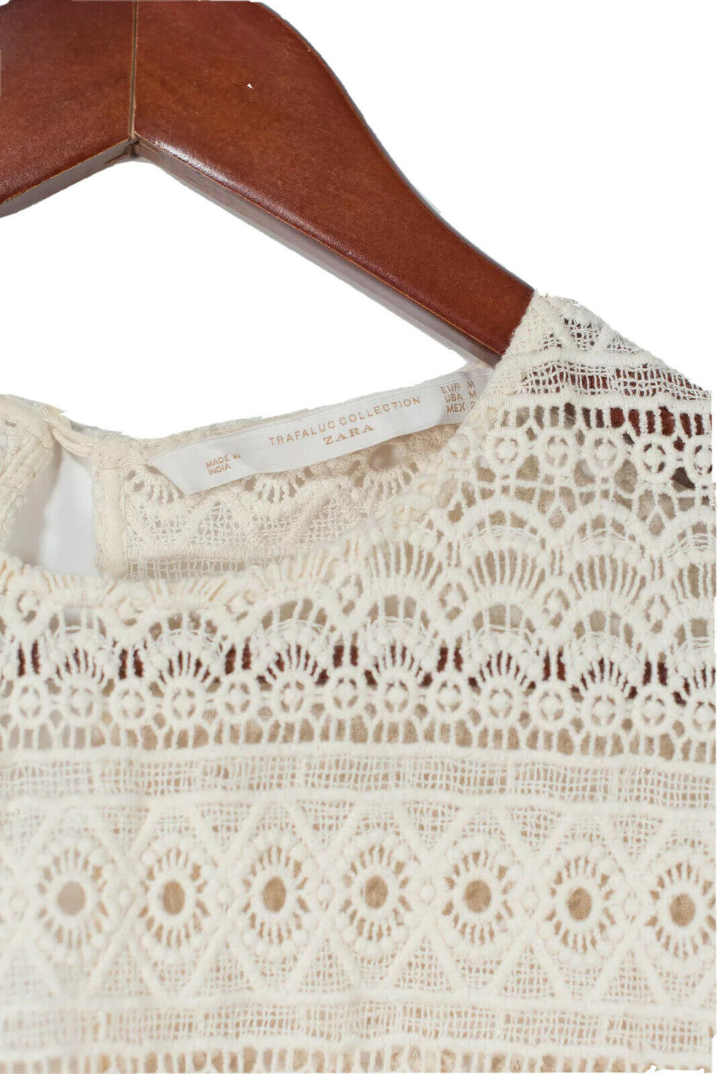 Zara TRF Collection Womens Medium Ivory Shirt Broderie en Anglais Crochet Top