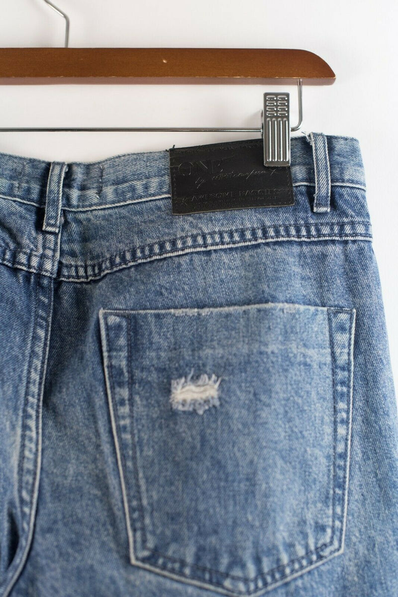 One X Teaspoon Womens Size 26 Small Blue Awesome Baggies Womens Trashed Jeans