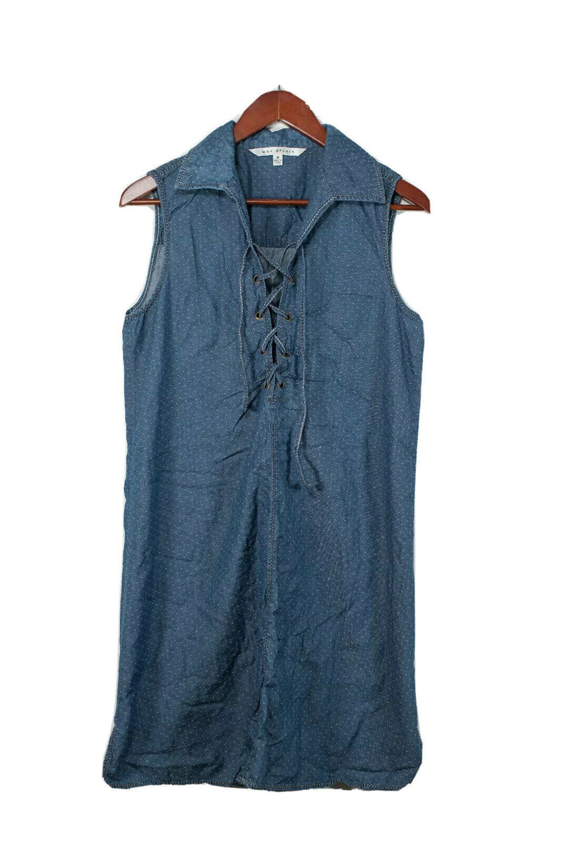 Max Studio Medium Blue Polka Dot Chambray Dress