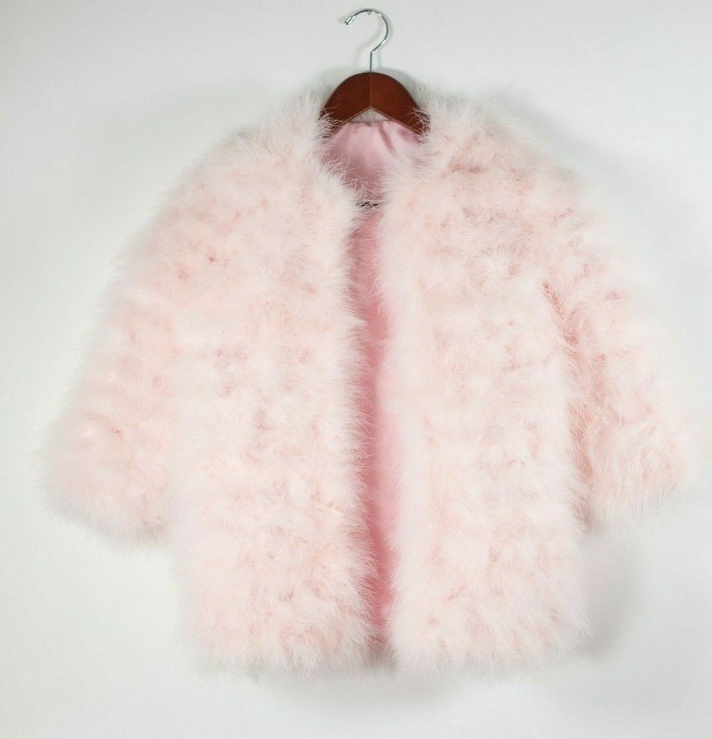 Womans XS Baby Pink Fur Jacket Real Ostrich Feather Marabou Feather Fur Top Coat