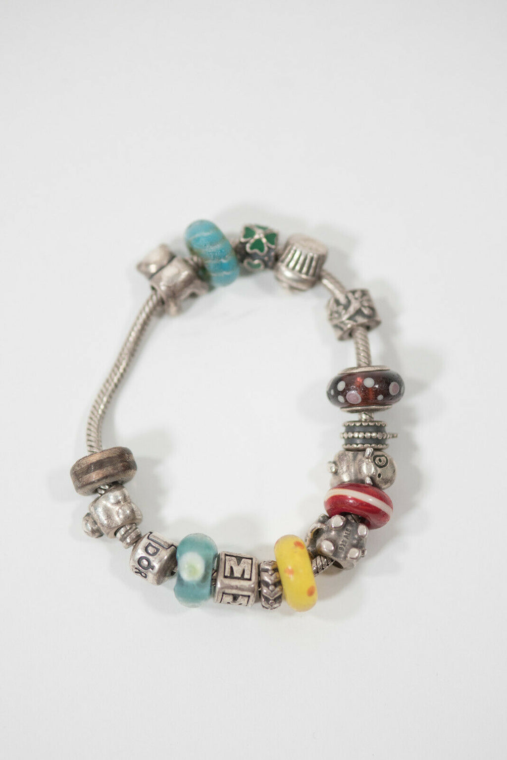 Pandora Womens Silver Charm Bracelet 16 Charms 925 Sterling Silver Glass Beads