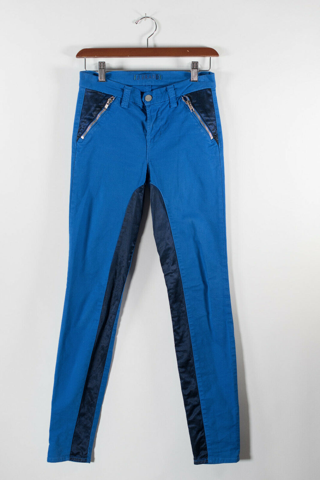 J Brand Womens Size 25 Navy Blue Jeans Zipper Pocket Pants 2 Tone Bright Skinny