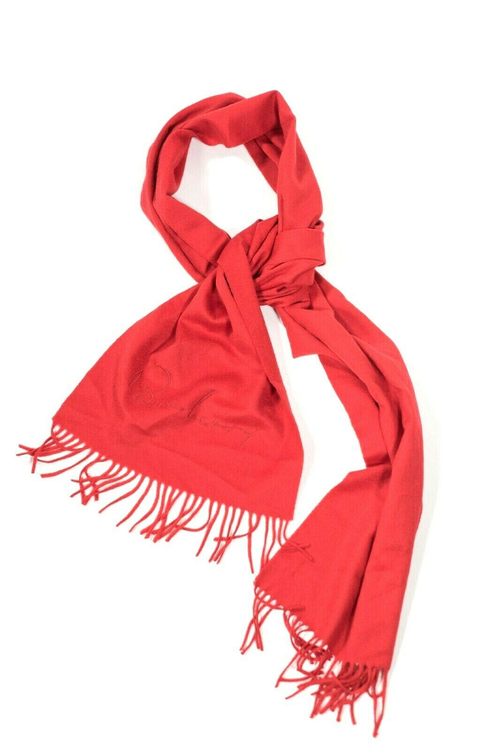 Burberry Womens Red Scarf Classic Giant Cashmere Fringe Solid Made in Scotland
