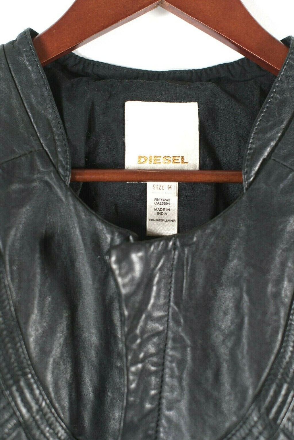 Diesel Womens Medium Black Moto Jacket Soft Leather Diamond Quilted Zipper Front