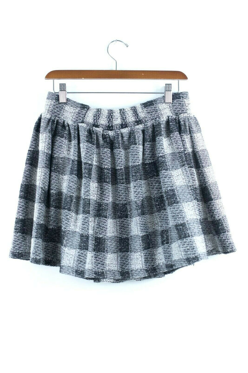 Free People Womens Medium Grey Black Mini Skirt Holly Go Lightly Pleated Plaid