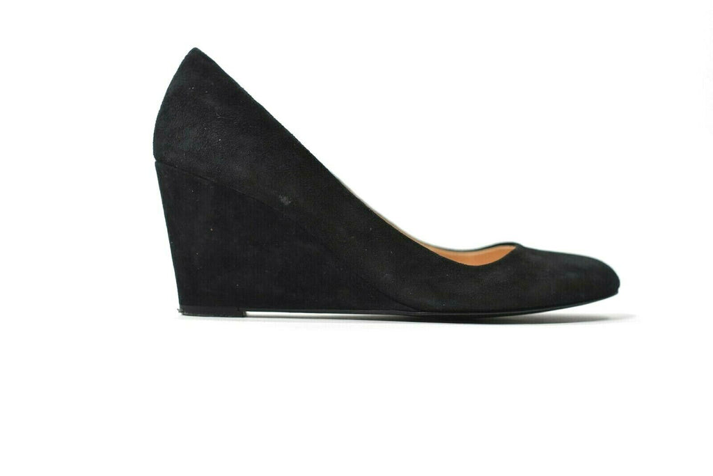 J.Crew Womens Size 7.5 Black Pumps Martina Suede Wedge Heel Shoes Made in Italy