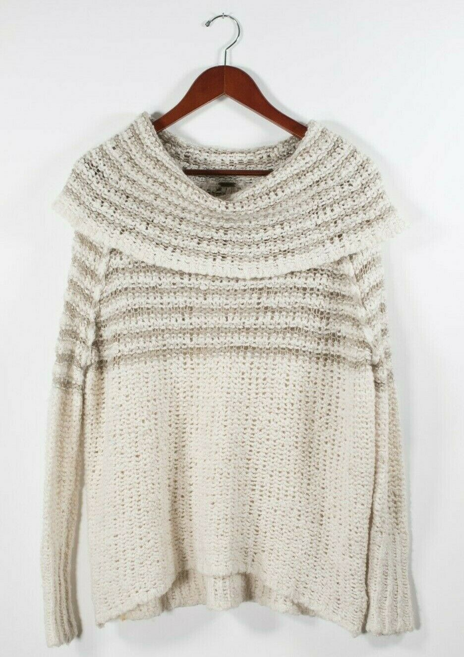 Free People Womens XS Beige Brown Pullover Sweater Nordic Striped  Cowl Neck Top