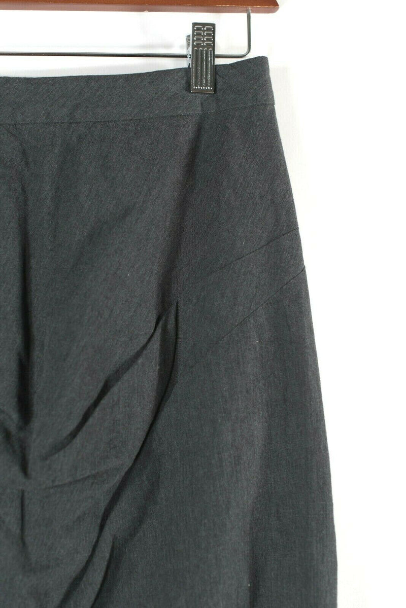 AllSaints Womens 8 Medium Grey Pencil Skirt Ruched Knee Length Slit Back Zip NWT