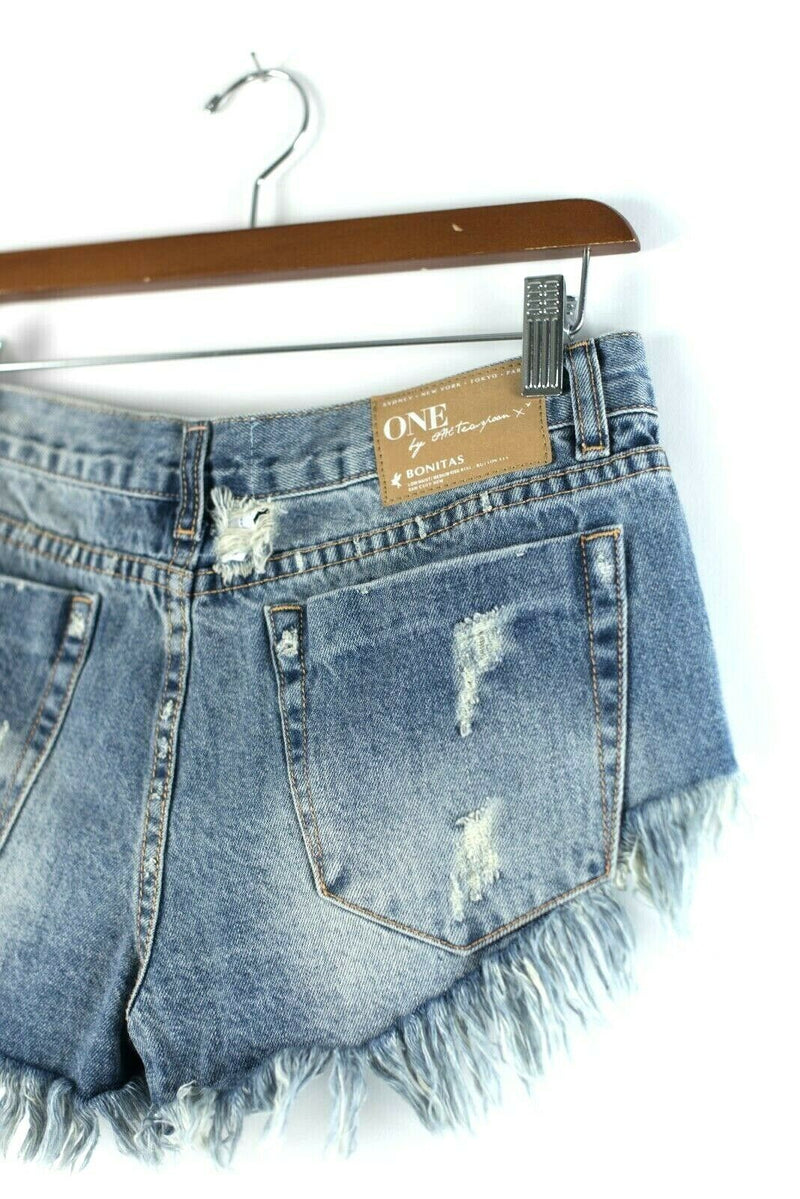 One X By One Teaspoon 26 Blue Shorts Bonitas Ripped Denim Cutoff Frayed Mini