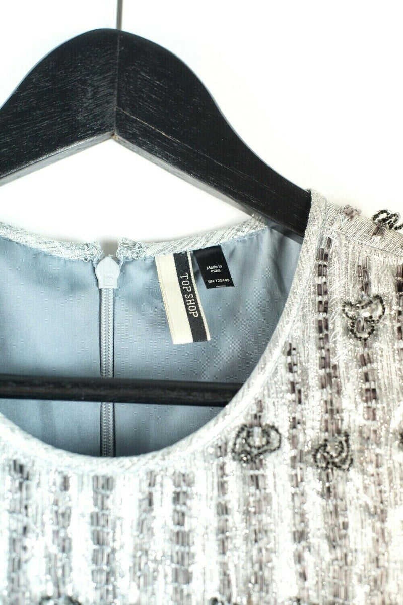 Topshop Womens Extra Small Powder Blue Silver Dress Beaded Ruffle Mini Party