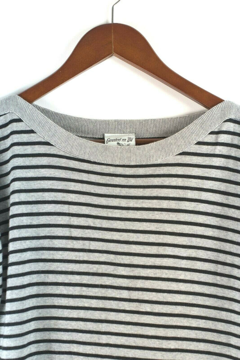 S.N.S.Herning Womens Size Medium Grey Black Sweaters Pullover Top Wool SS Shirt