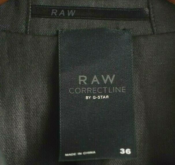 G-Star RAW Correctline Womens Size 36 XS Black Blazer Waxed Cotton Sheen Jacket