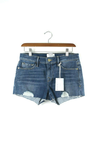 Levi's 514 Womens 26 Dark Blue Shorts Silver Studded Cheeky Cutoff Denim Booty