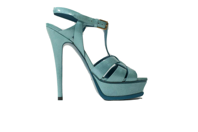 YSL Womens Size 36 Turquoise Blue Sandals Patent Leather Tribute