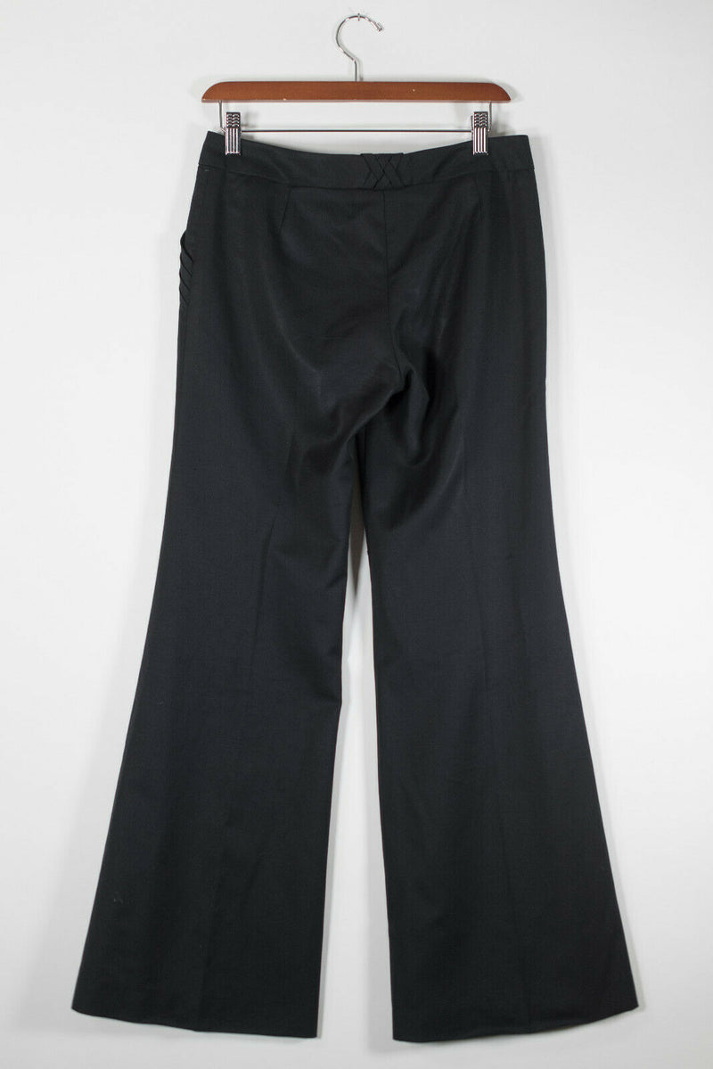 Chloe Womens Size 36 XS Black Trousers Wide Leg Tailored Woven Trim Pocket Pants