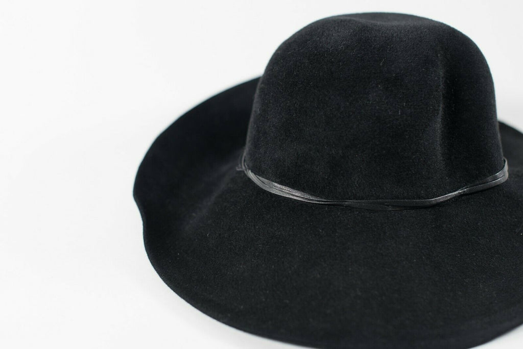 Eric Javitz New York Women's O/S Black Hat Floppy Felt Wide Brim Fedora Hat $398