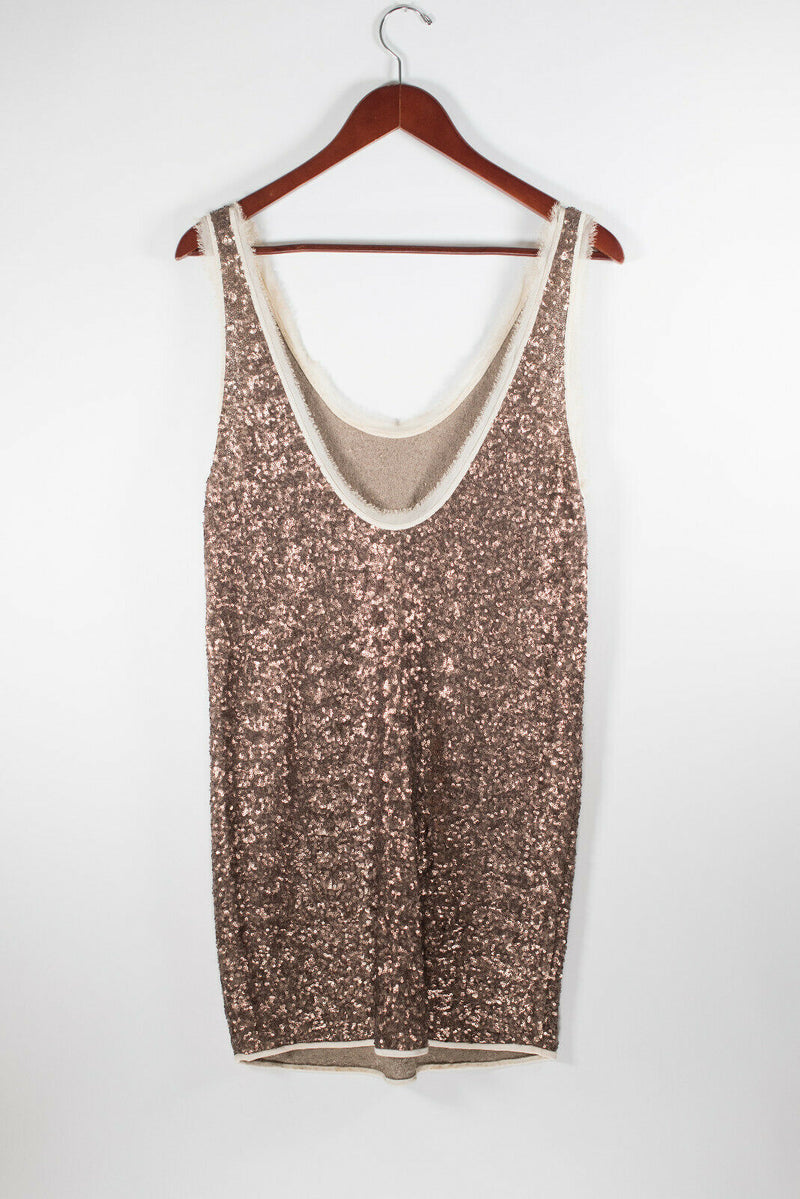 Aritzia Wilfred Womens Small Copper Brown Barbizon Dress Silk Tank Sequin Mini