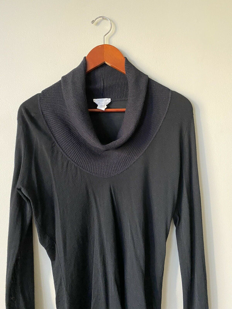 Max Mara Women's Size XL Blue Pullover Sweater Ribbed Knit Long Sleeve Cowl Neck