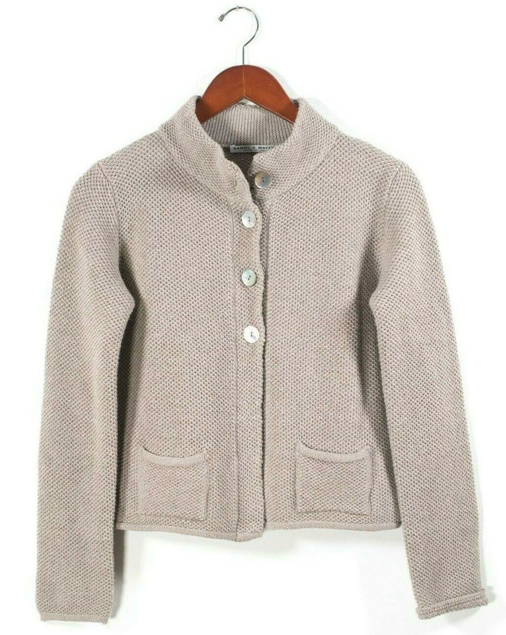 Daniel & Meyer Womens Small Brown Cardigan Sweater Knit Button Pocket Blazer