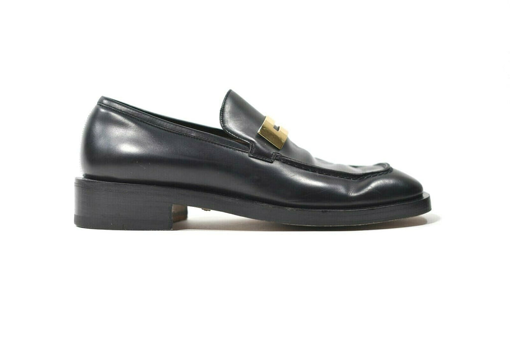 Gucci Womens Size 36.5 Black Flats Gold Metal G Logo Vintage Classic 90s Loafers