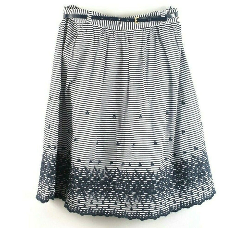 Kate Spade Womens 8 Blue Lawson Skirt A Line Floral Stripes Knee Length W Belt