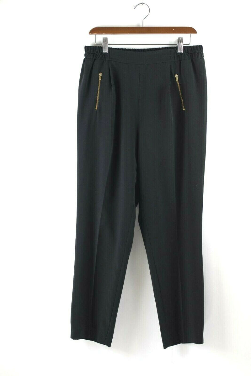 Gerard Darel Paris Womens Size 40 Large Black Pants Tapered Stretchy Trousers
