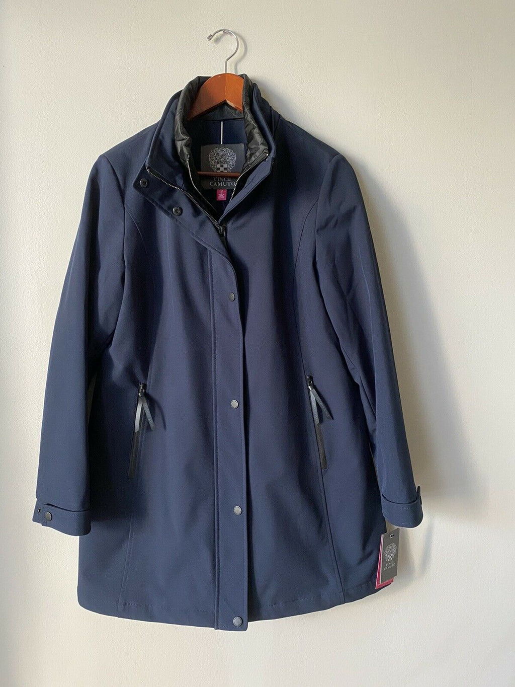 Vince Camuto Womens Size Medium Navy Blue Jacket Water Resistant Zip Up Coat NWT