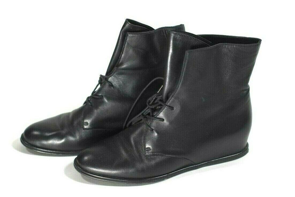 Stuart Weitzman Womens SZ 9 Black Boots Lace Up Nappa Leather Hidden Wedge $475