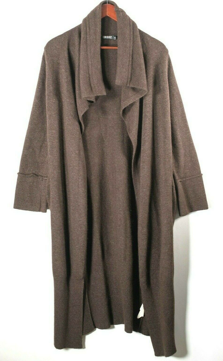 Pure DKNY Womens Medium Brown Cardigan Longline Open Waterfall Soft Knit Maxi
