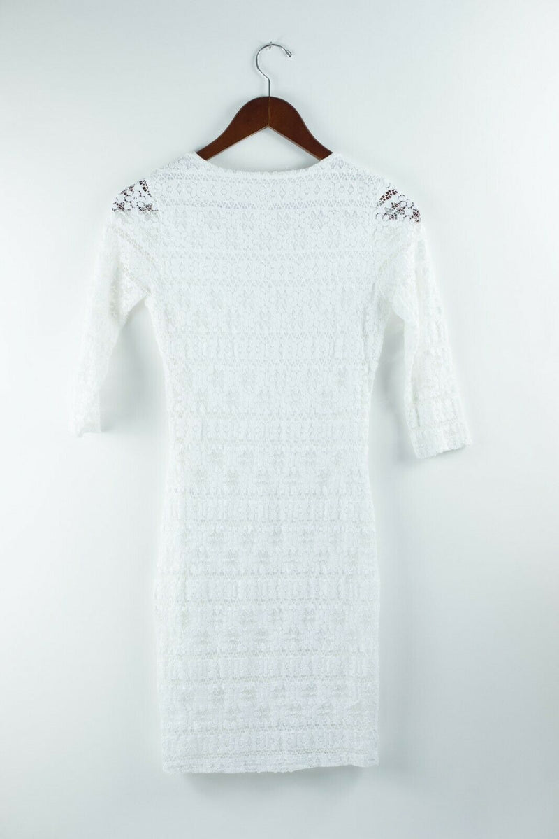 Nightcap Carisa Rene Womens Extra Small White Dress Cutout Mesh Lace Mini Dress