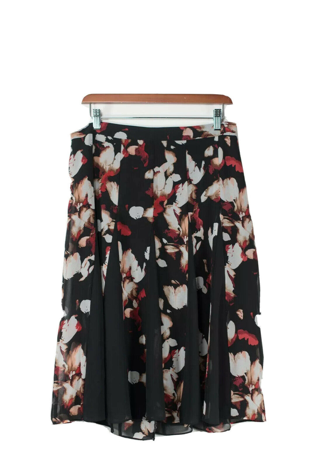 White House Black Market Womens Size 8 Black Red Skirt Floral Printed Panel NWT