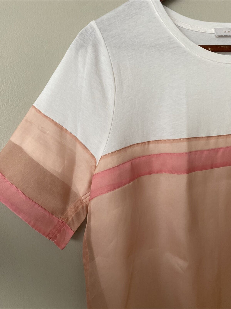 Riani Women's Medium Pink White Peach Tee Shirt Top Front Pocket Striped Top
