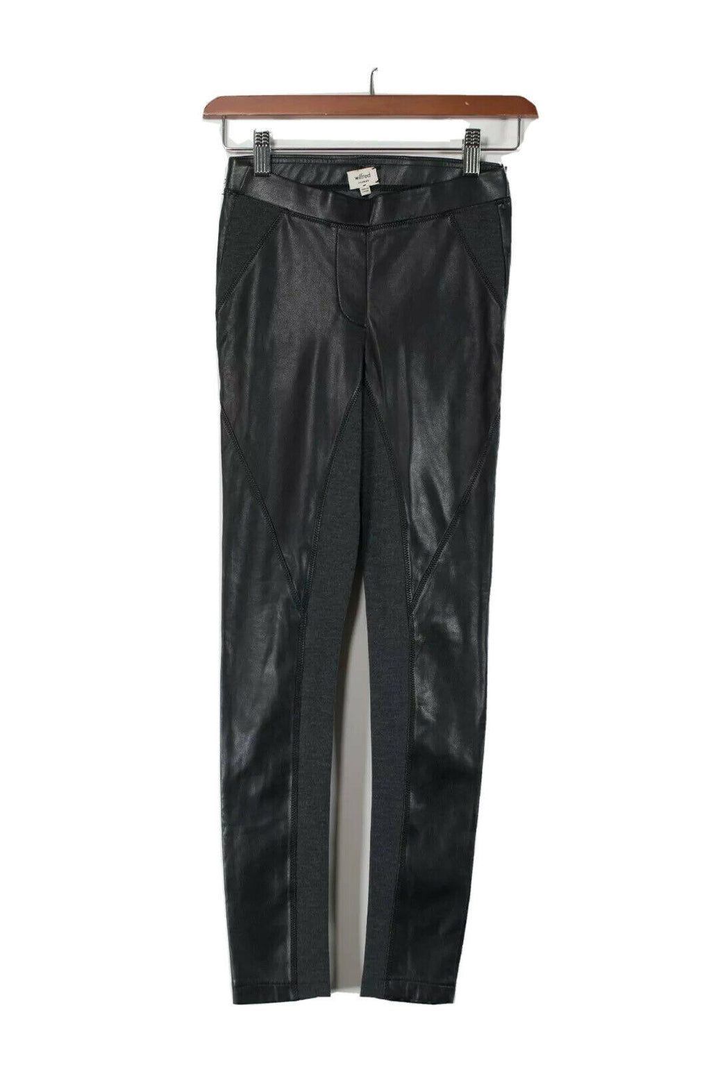 Aritzia Wilfred Womens XXS Black Gray Pants Faux Leather