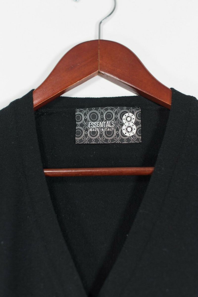 Essentials Women's Size XL Black Cardigan Sweater 5 Button Top Knit V Neck Shirt