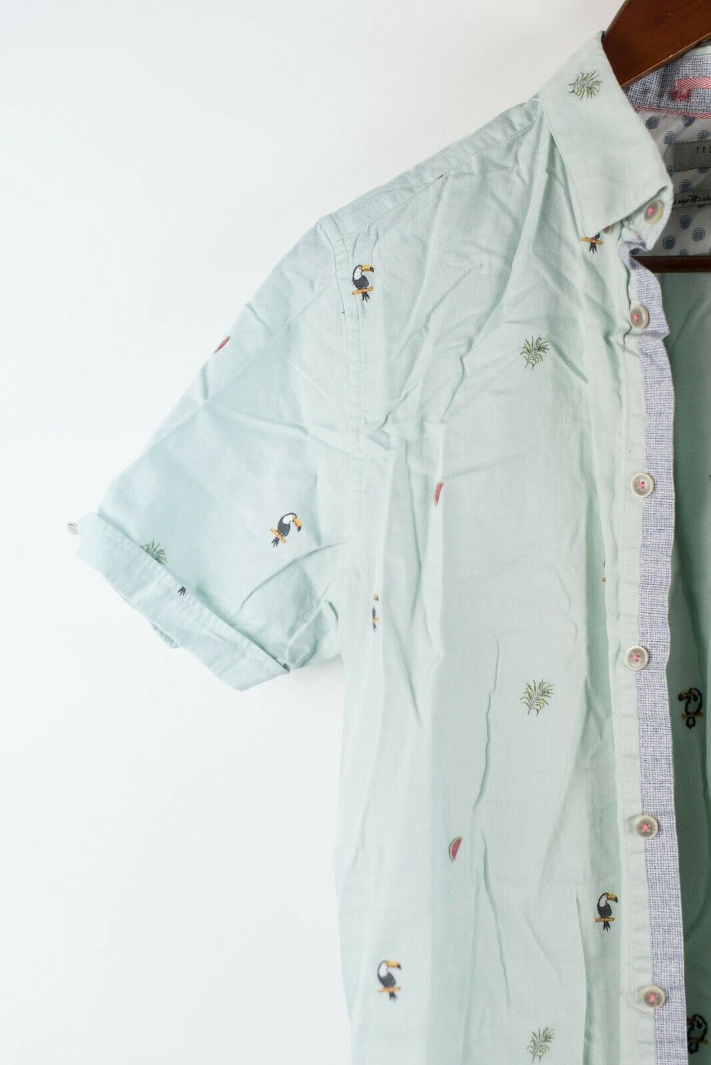 Ted Baker Mens Size 3 Mint Green Shirt S/S Button-Down Cotton Palm Tree Graphic