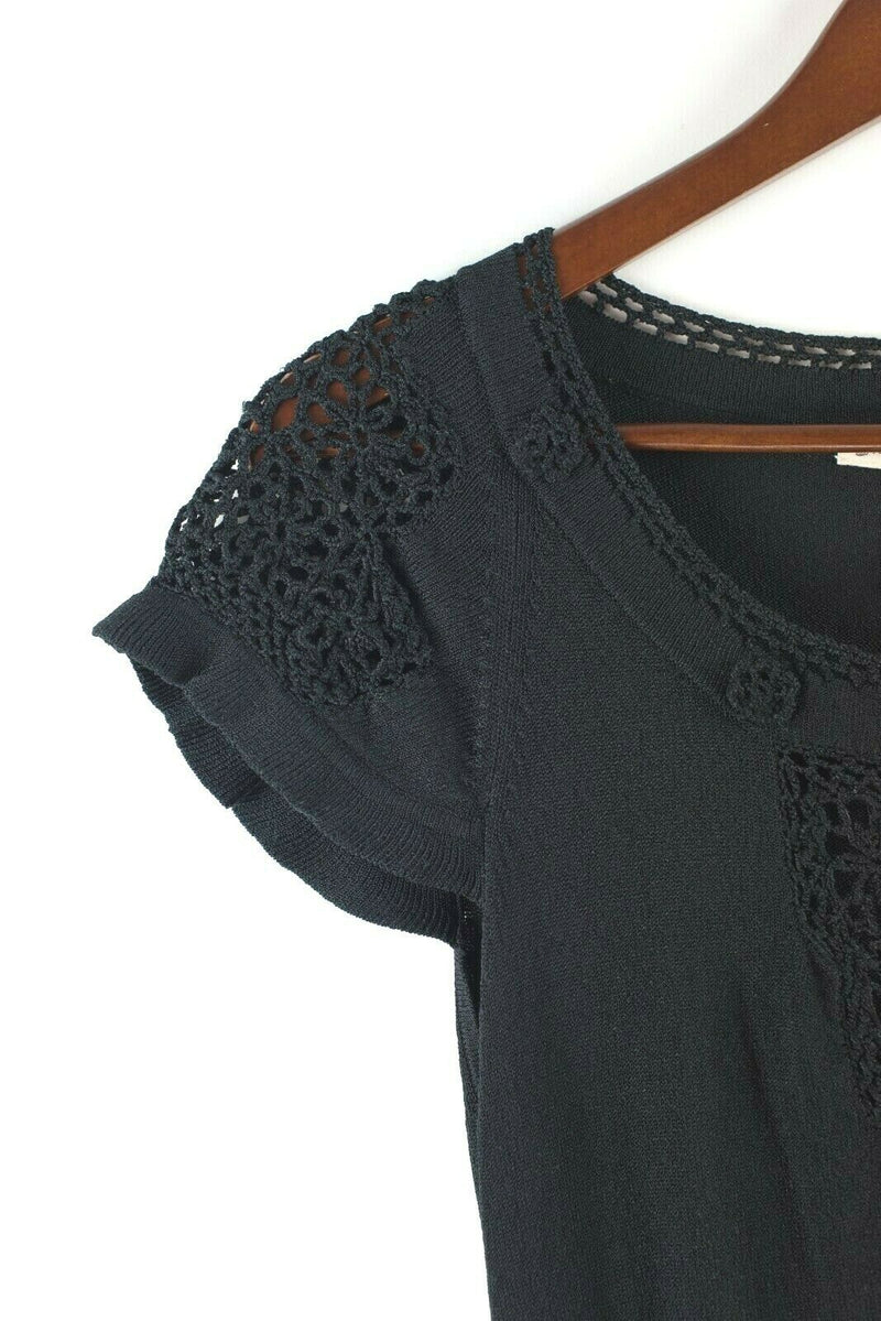 Nanette Lepore Womens Medium Black Top Cap Sleeve Knit Blouse Crochet Shirt Tee