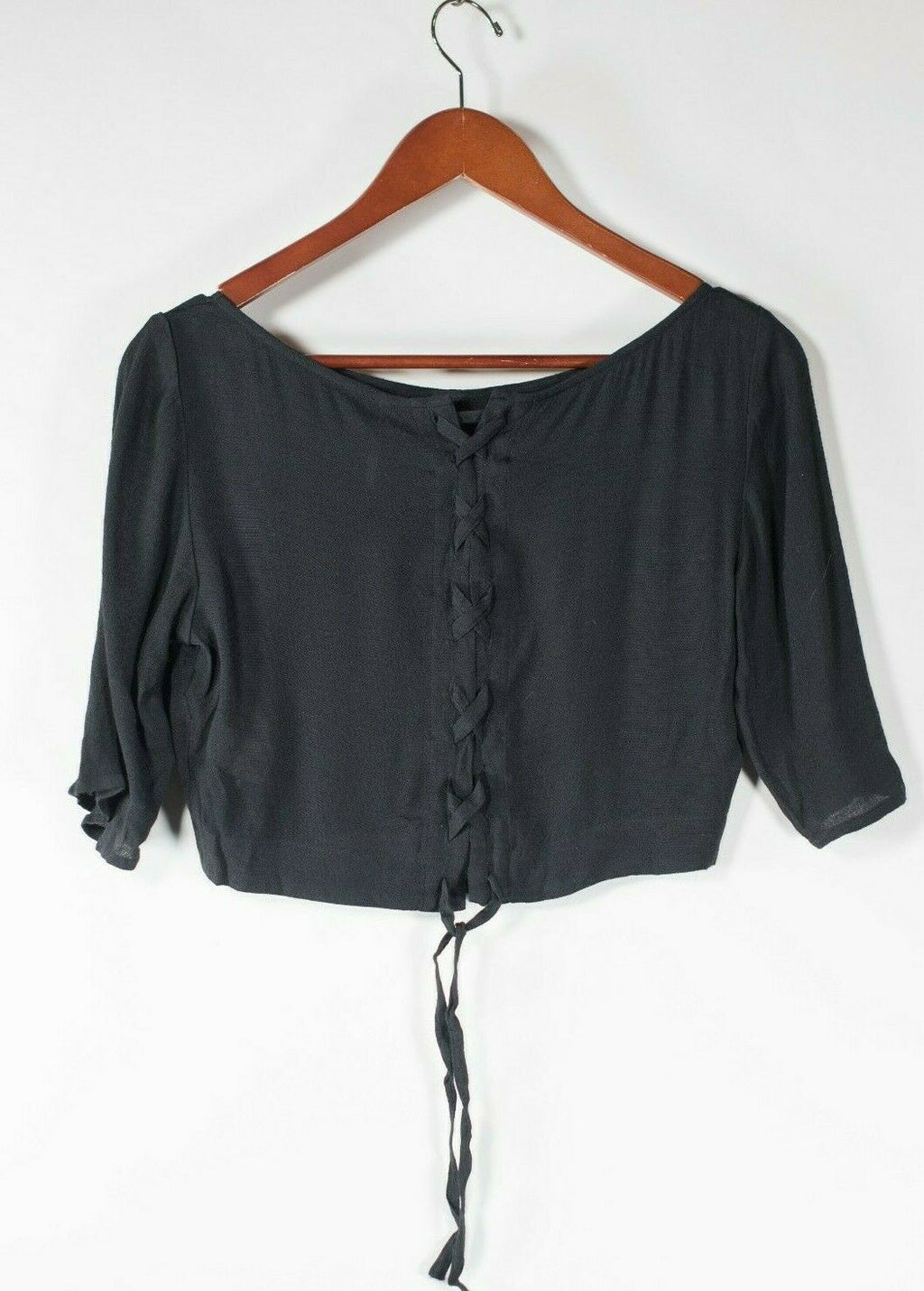 Free People Women's Size XS Black Blouse Rayon Tie Up Back Shirt 3/4 Sleeve Top