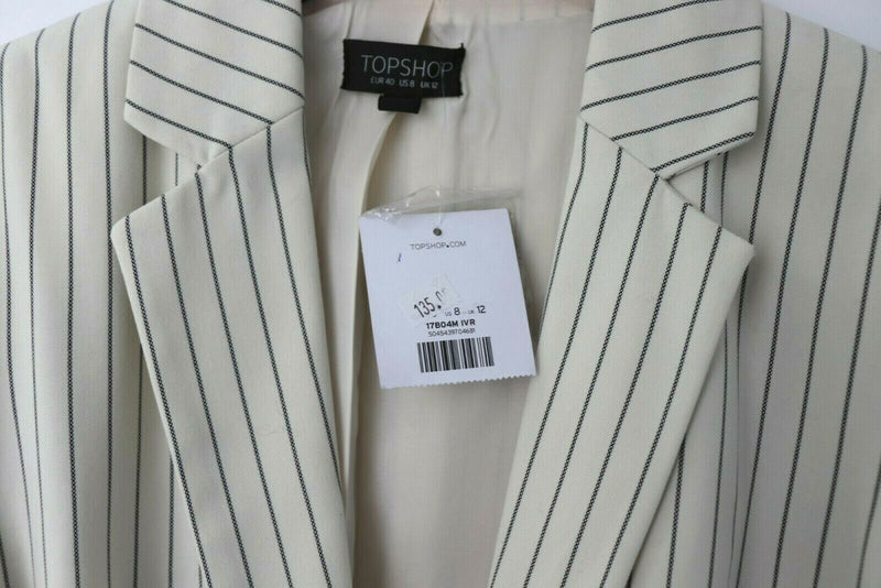 Topshop Womens Size 8 Medium Cream Black Pinstripe Blazer NWT
