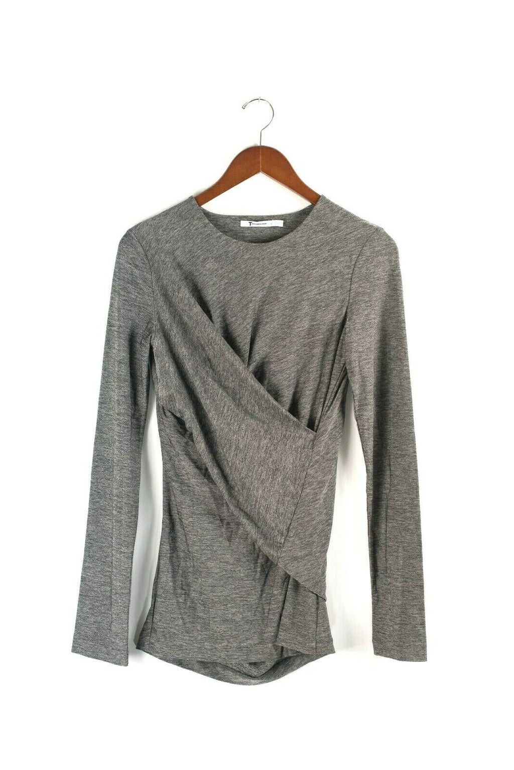 T by Alexander Wang Womens M Grey Top Marled Wrap Front Knit Long Sleeve Blouse