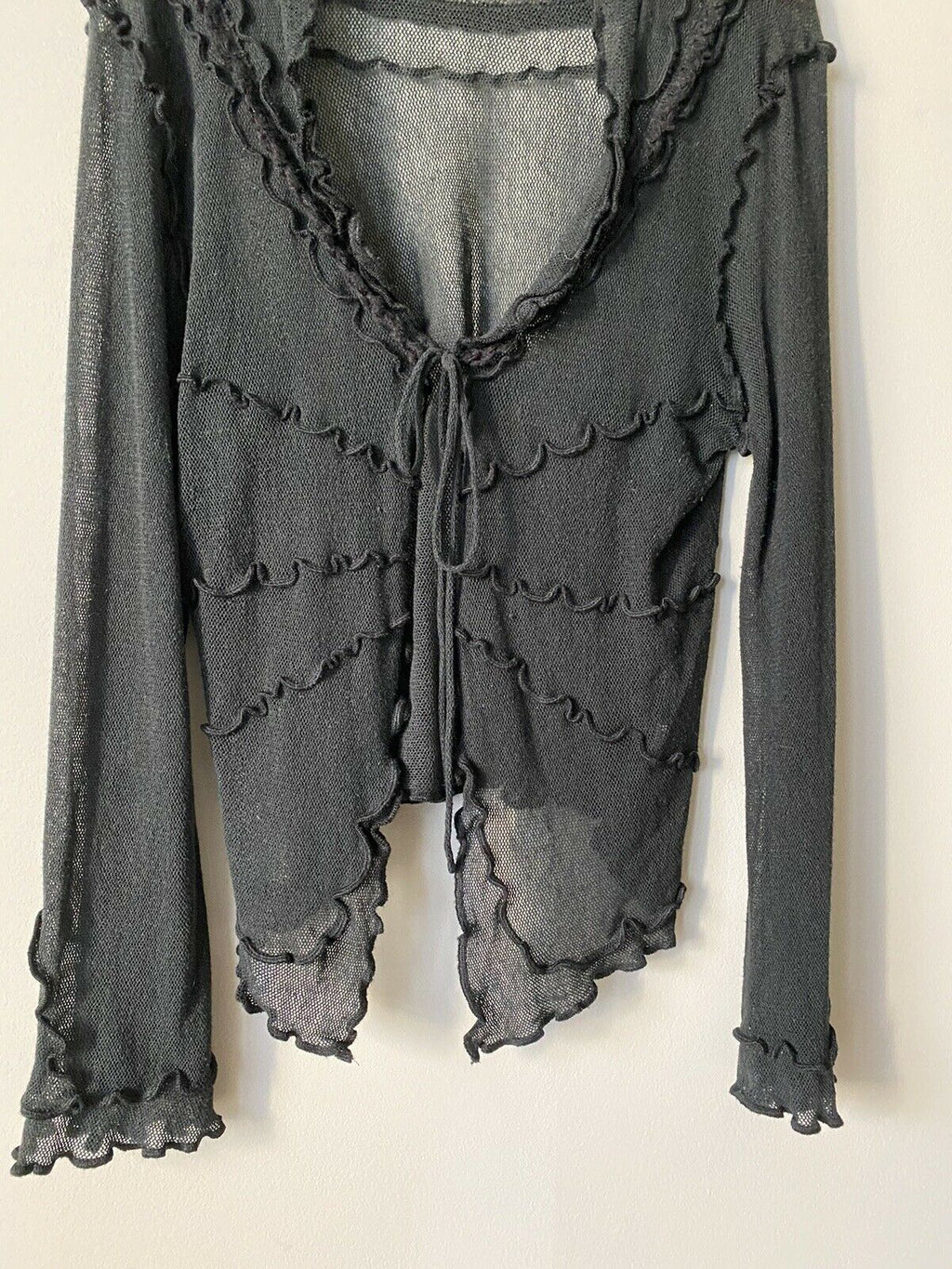 Sandwich Womens Size XL Black Cardigan Sweater Long Sleeved Tie Front Mesh Shirt