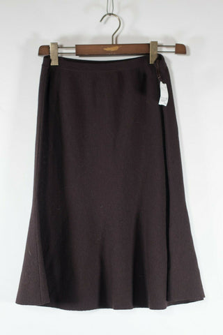 Oak + Fort Women's Small Taupe Brown Cropped Pants Solid Wide Leg Knit Culottes
