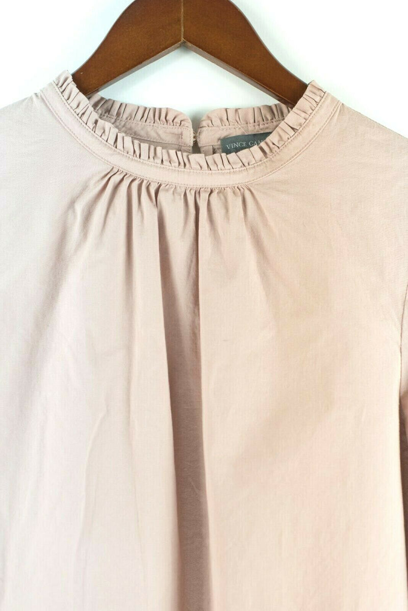 Vince Camuto Womens Size XS Pink Blouse Cotton Blend Solid Shirt Pullover Top