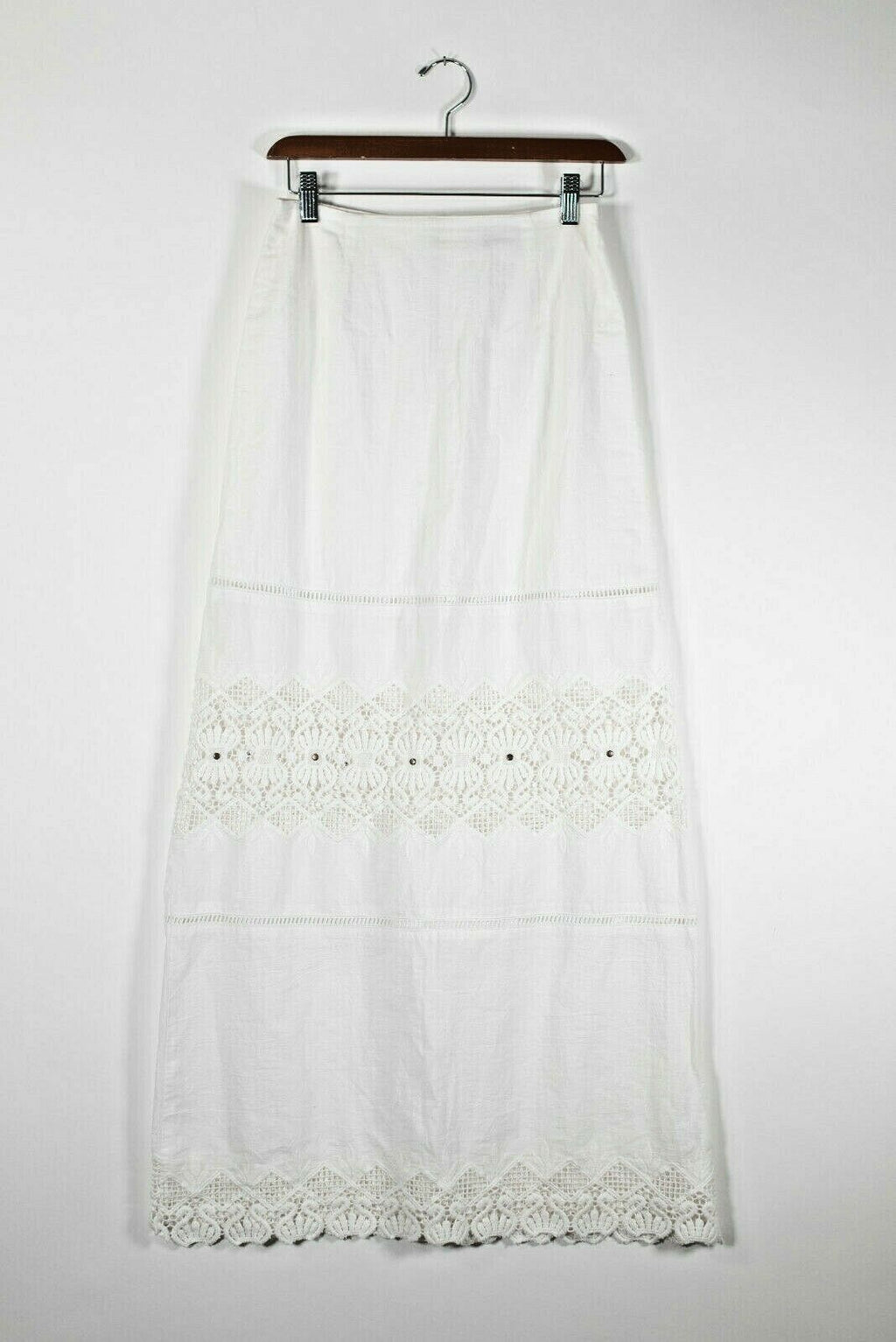 Nightcap Clothing XS White Eyelet Maxi Skirt